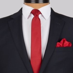 Mens red silk skinny tie with box